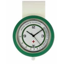 Montre Infirmiére en plastique Verte avec broche Quartz Ronda 515 Swiss Parts EM15534