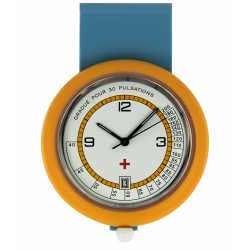 Montre Infirmiére en plastique orange avec broche Quartz Ronda 515 Swiss Parts EM15524