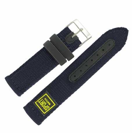 Bracelet de montre 20mm Bleu en Nylon Sport Watch