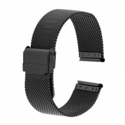 Bracelet montre 24mm Mesh Noir en Maille Milanaise en Acier PVD Made In Germany