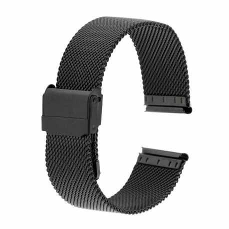 Bracelet montre 24mm Mesh Noir en Maille Milanaise en Acier PVD Made In Germany