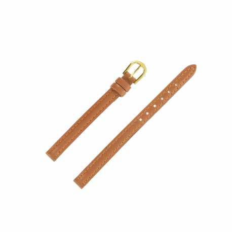 Bracelet montre Extra long 08mm Marron Doré en cuir de vachette Classic