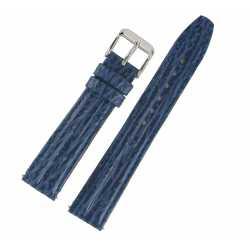 Bracelet de montre 18mm Bleu en Cuir de vachette Gaufré Requin