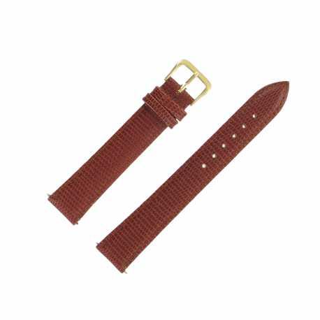 Bracelet montre Extra Long de 12 à 20mm Marron doré en Cuir de Vachette Gaufré Lézard