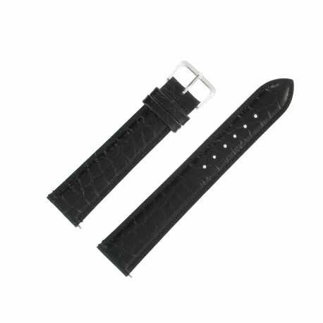 Bracelet Montre Extra Long Noir de 10-14-16 et 20mm en Cuir de Veau Gaufré Alligator Ecocuir® Artisanal