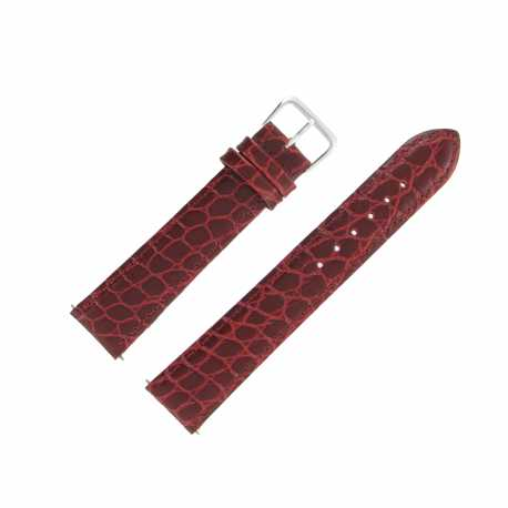 Bracelet Montre Extra Long Bordeaux de 12-16 et 20mm en Cuir de Veau Gaufré Alligator