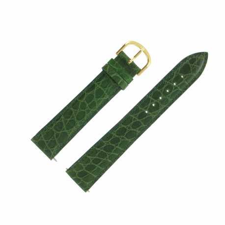 Bracelet Montre Extra Long Vert de 16-18 et 20mm en Cuir de Veau Gaufré Alligator