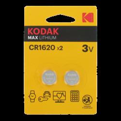 Blister de 2 Piles bouton CR1620 Lithium Max 3 Volts Kodak