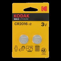 Blister de 2 Piles bouton CR2016 Lithium Max 3 Volts Kodak