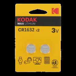 Blister de 2 Piles bouton CR1632 Lithium Max 3 Volts Kodak