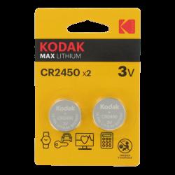 Blister de 2 Piles bouton CR2450 Lithium Max 3 Volts Kodak