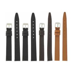 Lot de 4 bracelets montre assortis en cuir Buffalo Sevilla Ecocuir® + 6 Piles Offertes