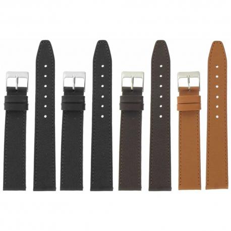 Lot de 4 bracelets montre 12-14 et 18mm assortis en cuir Buffalo Sevilla Ecocuir® + 6 Piles Offertes