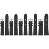 Lot de 5 Bracelets de montre Noir de 18/20/22mm en Cuir de Bœuf WaterProof + 6 piles Offertes