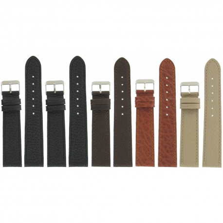 Lot de 5 bracelets montre 20mm assortis en cuir Buffalo Granada Ecocuir® + 6 Piles Offertes