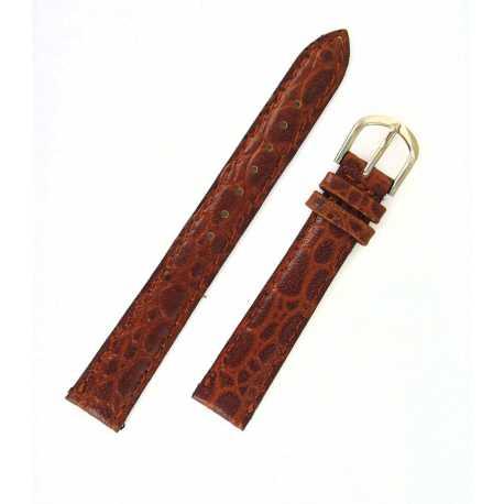 Bracelet de montre 14mm Gold en cuir de veau façon Crocodile