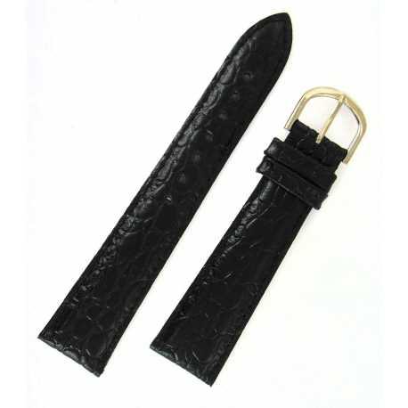 Bracelet de montre 16mm Noir en cuir de veau façon Crocodile